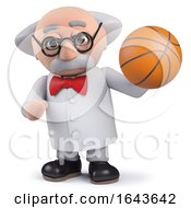 3d Scientist Character Holding A Basketball
