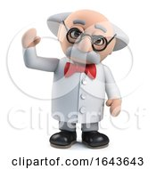 3d Mad Scientist Professor Character Waves A Cheerful Greeting