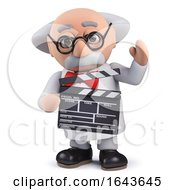 3d Scientist Character Using A Film Slate To Direct A Movie by Steve Young