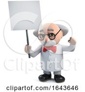 3d Scientist Character Holding A Blank Placard Banner by Steve Young