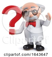 3d Scientist Character Holding A Question Mark Symbol by Steve Young