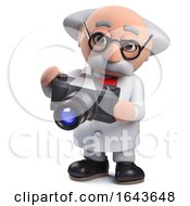 3d Scientist Character Using A Camera