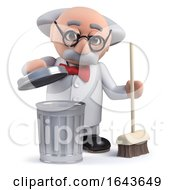 3d Scientist Character Cleaning Up With A Broom And Trash Can by Steve Young