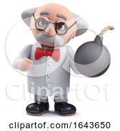 3d Scientist Character Holding A Bomb by Steve Young
