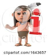 3d Funny Cartoon Native American Indian Character Holding An Information Symbol