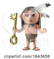 3d Funny Cartoon Native American Indian Brave Holding A Gold Key Of Success