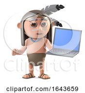 3d Funny Cartoon Native American Indian Character Hold A Laptop Pc