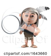 3d Funny Cartoon Native American Indian Character Has A Magnifying Glass