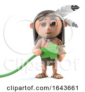 3d Funny Cartoon Native American Indian Character Holding A Green Power Lead by Steve Young