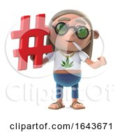 3d Funny Cartoon Hippie Stoner Character Holding A Hash Tag Symbol