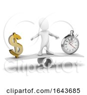 3d Little Man Balances Time And Money