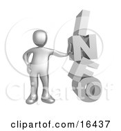 Silver Person Leaning Against The Word INFO Clipart Illustration Graphic by 3poD