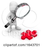 3d Person Looking At Jigsaw Puzzle Piece Through Magnifying Glass