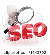 3d Person Looking At SEO Through Magnifying Glass