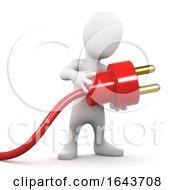 3d Person Holding An Electric Power Cable With Plug