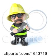 3d Firefighter Holding A Magnifying Glass by Steve Young
