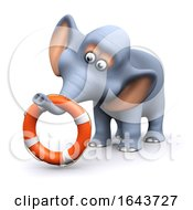 3d Elephant With Life Ring by Steve Young