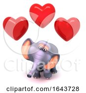 Poster, Art Print Of 3d Elephant Surrounded By Romantic Love Hearts Of Affection