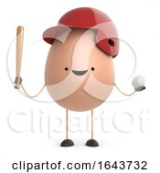 Poster, Art Print Of 3d Cute Toy Egg Loves To Play Baseball