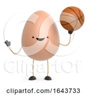 Poster, Art Print Of 3d Cute Toy Egg Plays With A Basketball