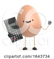 Poster, Art Print Of 3d Cute Toy Egg Is Fond Of His Calculator