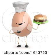 3d Cute Toy Egg Enjoys A Beef Burger by Steve Young