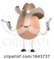 3d Cute Egg Man Cowboy With Guns by Steve Young