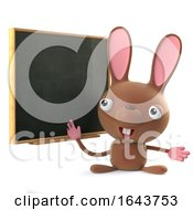 3d Cute Easter Bunny Rabbit Stands At The Blackboard