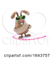 Poster, Art Print Of 3d Surfing Bunny