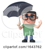 3d Boy In Glasses Has An Umbrella by Steve Young