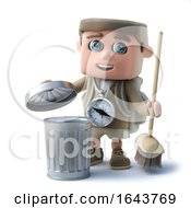 3d Funny Cartoon Hiker Character Sweeps Rubbish In The Trash Can