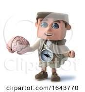3d Render Of A Funny Cartoon Hiker Character Holding A Brain
