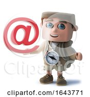 3d Funny Cartoon Hiker Kid Character Holding An Email Address Symbol