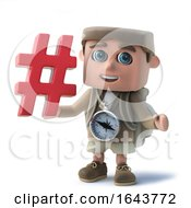 3d Funny Cartoon Hiker Character Has A Hash Tag Symbol