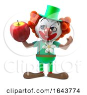 3d Funny Cartoon Clown Character Holding A Juicy Apple