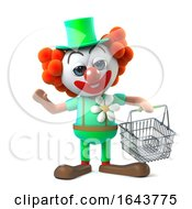 3d Funny Cartoon Clown Character Holding A Shopping Basket by Steve Young