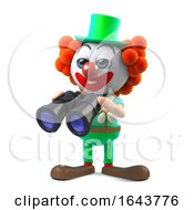 3d Funny Cartoon Clown Character Has A Pair Of Binoculars by Steve Young