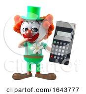 3d Funny Cartoon Crazy Clown Character Holding A Digital Calculator