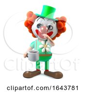 Poster, Art Print Of 3d Funny Cartoon Clown Character Drinks A Cup Of Coffee