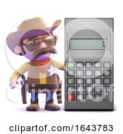 3d Cowboy Sheriff Next To A Calculator