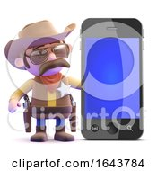 3d Cowboy Sheriff Next To A Smartphone