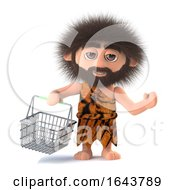 3d Savage Caveman Goes Shopping With His Basket
