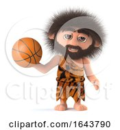 3d Funny Caveman Plays Basketball by Steve Young