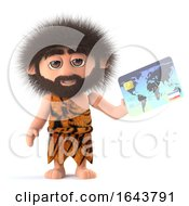3d Funny Cartoon Caveman Pays With A Debit Card