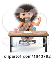 3d Funny Cartoon Caveman Sits At His Desk by Steve Young