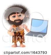 3d Funny Cartoon Primitive Caveman Character Holds A Laptop Computer