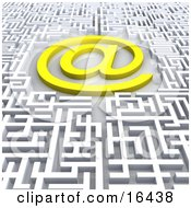 Bright Yellow At Symbol In The Center Of A Confusing Maze Clipart Illustration Graphic