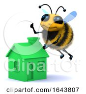 3d Honey Bee Flying By A Green Energy Renewable House