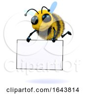 3d Bee Holds A Banner