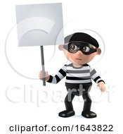 3d Funny Cartoon Criminal Burglar Character Holding A Placard by Steve Young
